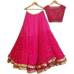 Aryan Fashion Women Georgette Wedding Semi-Stitched Lehenga Choli (AFS-ER-Ewe10658_Pink_Free Size)