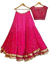 W Ethnic Women Georgette Wedding Special Semi-stitched Salwar Suit & Lehenga Choli (WDR-ERDg10658_Pink_free Size)