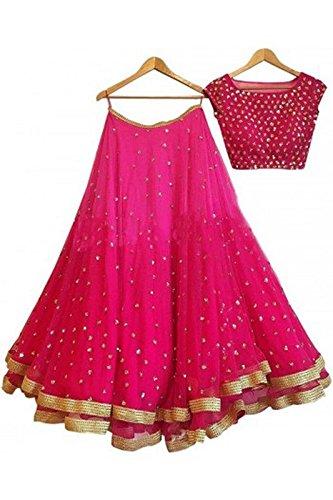 Aryan Fashion Women Georgette Wedding Semi-Stitched Lehenga Choli (AFS-ER-Ewe10658_Pink_Free Size)