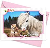 """15er Set (inkl. Umschläge): Einladungskarten """"Pferd & Katze"""" für den Kindergeburtstag oder anderen Anlass – hochwertige Geburtstagseinladungen für Mädchen, Kinder, Pferde-Fans"""