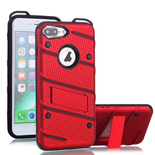 EKINHUI Case Cover Dual Layer Hybrid Armor Schutzhülle Shockproof Stoßfänger mit Kickstand für iPhone 7 Plus / 8 Plus ( Color : Silver ) Red