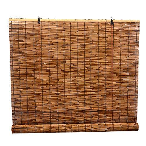 CHAXIA Bambus Rollo Bambusrollo Retro Schilf Chinesischer Stil Stroh Vorhang Zen Sonnenblende Seil Ziehen Erhöhen, Multi-Größe, Anpassbar (Farbe : A, größe : 90x200cm)