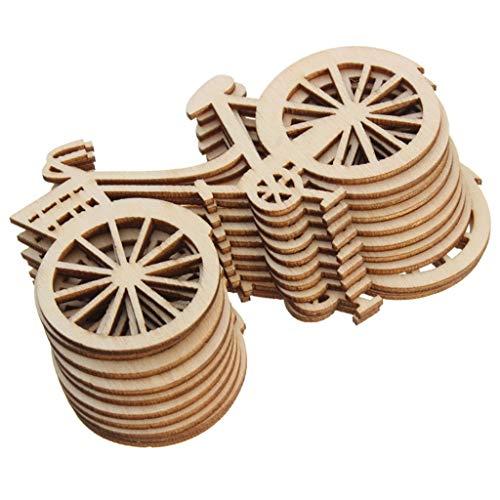 Hgfcdd 10 Stück Holz Fahrrad Ausschnitt Furnier Scheiben DIY Basteln Ornament Thema Hochzeit Party Home Dekoration Geschenk