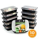 VINE RITUALS® [10] Pack Meal Prep Containers. Single Compartment Reusable 1100ml BPA Free Plastic Food Storage Containers with Lids for Diet Weight Loss Fitness Portion and Calorie Control
