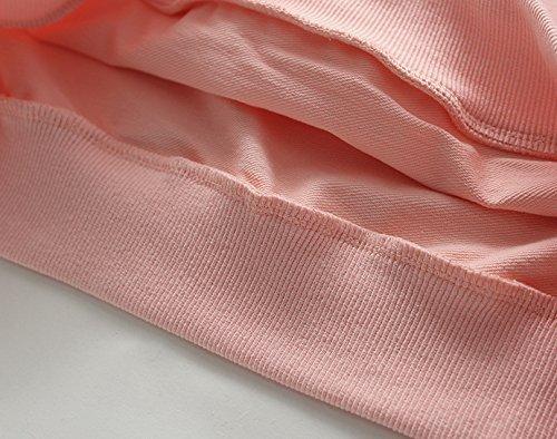 Minetom Damen Kapuzenpullover Einfarbiger Kapuze Brief Sweatshirts Kapuzenoberteile Vordertaschen Pink