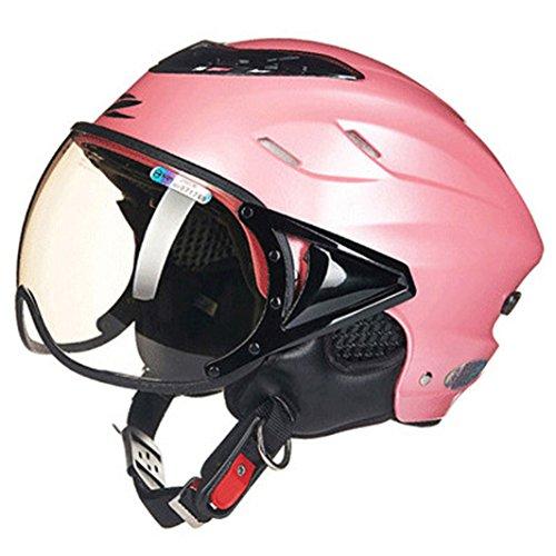 Lidauto Motorrad Halbhelme Weg vom Sommer Offenen Gesicht Kühler Moped für Mann-Frauen,Pink