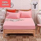 PENVEAT 100% Baumwolle einfarbig Bett Spannbetttuch Matratzenbezug Four Corners Bettwäsche mit Gummiband Bettwäsche Großhandel, Pink, 135x200cm