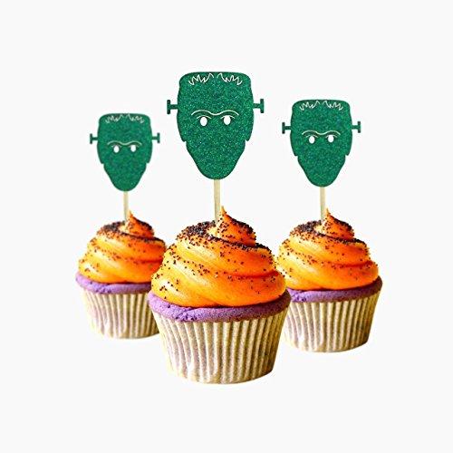 pcake Topper 12 Stück pro Packung Dekoration Kuchen Glitzer Karte Stock grün ()