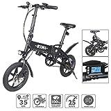 Elektrofahrrad Faltbares E-bike E-Fahrrad Klappfahrrad 14 Zoll E-Faltrad (Schwarz)