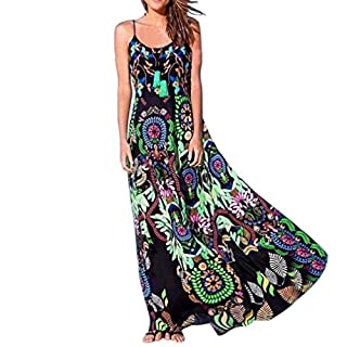 Amlaiworld Women Dresses,Bohemian Womens Floral Print Sling Long Dress Sleeveless Summer Beach Dress (XL, Green)
