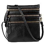 Vbiger Umhängetasche Damen Echt Leder Schultertasche Kleine Handtasche Messenger Bag für Frauen