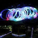 ELINKUME Solar Schlauch Lichterkette Bunt, 7M/23ft 100 LEDs Wasserdicht Außenlichterkette Röhrenlicht Seil Kupferdraht Weihnachtsbeleuchtung Lichter für Hochzeit Garden Party (RGB)