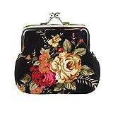 Geldbörse Geldbeutel Handtasche Tasche Portemonnaie Segeltuch Brieftasche Frauen Dame Retro Weinlese Blumen Kleine Hasp Purse Clutch Bag Sunday (9cm, schwarz)