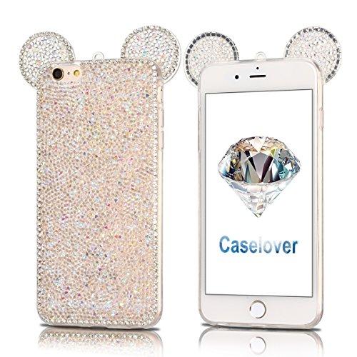 Coque iPhone 6 , TPU Étui iPhone 6S , Mickey Motif Mode Glitter Bling Étui Silicone Souple Housse Caselover Etui Coque TPU Slim pour Apple iPhone 6 / 6S (4.7 pouces) Mode Flexible Souple Soft Gel Pail Blanc