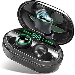 Donerton Écouteurs Bluetooth 5.0, Ecouteur sans Fil IPX8 Etanche 150H TWS Stéréo 3500mAh Etui de Charge, Oreillette Bluetooth avec Mic, AAC 8.0 CVC 8.0 Réduction du Bruit pour Sport