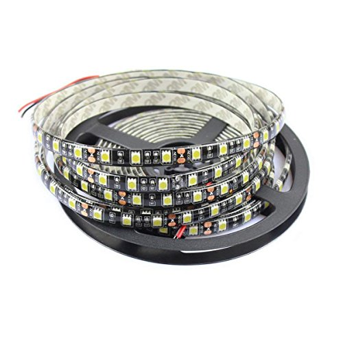 Tesfish 5M Blanco y Negro 5050 LED Tira Impermeable IP65 300 SMD Negro PCB Bordo DC 12V