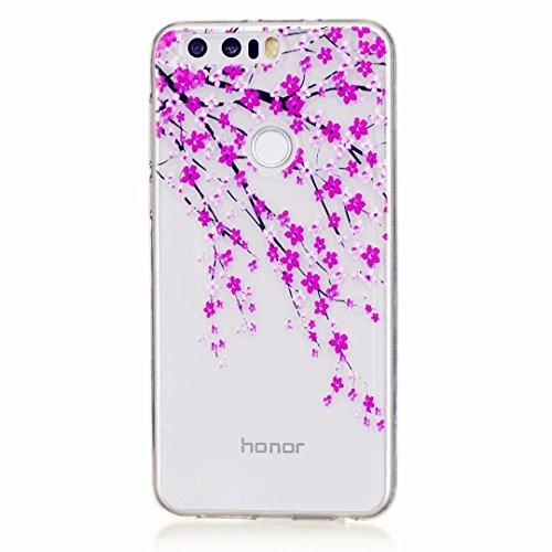 MUTOUREN Handyhülle für Huawei Honor 8 TPU Silikon Case Cover Durchsichtig Schutzhülle Tasche Etui Bumper Ultradünne Weich Kratzfeste Soßdämpfende Silikontasche Hülle Weiß - schön Pfirsichblüte Rosa (Streifen Snap Rosa)