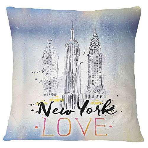 Timingila Blau Satin Kissenbezug New York Thema Home Decor Kissenbezug Werfen Bedruckte Stoff Kissenbezug 1 Stck - 26 x 26 Zoll - New York Werfen