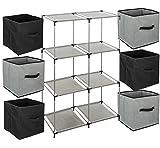 Ensemble de 7 pièces : 1 Meuble de rangement étagère casier + 6 Boîtes de rangement tiroirs - Coloris GRIS et NOIR