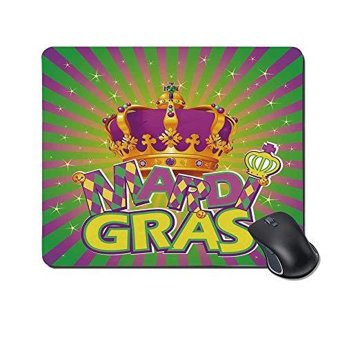 Mardi Gras Durable Mouse Pad, antike Krone auf Vintage Radial Hintergrund Schriftzug mit Schachbrettmuster dekorativ für Office Home,Gummimatte 11,8