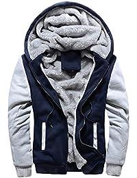 Semen Homme Hiver Chaud Sweats à Capuche Polaires Double Hoodie Veste Manteaux Sweat-shirts Outwear Casual Tops
