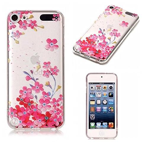 Etui pour ipod touch 5/ ipod touch 6 KSHOP Coque Protection en Gel Silicone TPU Premium Bumper Cover 2017 Transparent Crystal Design avec Motif - Série Fille de Fleurs Roses