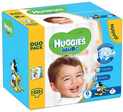 Huggies Pannolini Bimbo, Taglia 6 (15-30 kg), 2 Confezioni da 34 [68 Pannolini]
