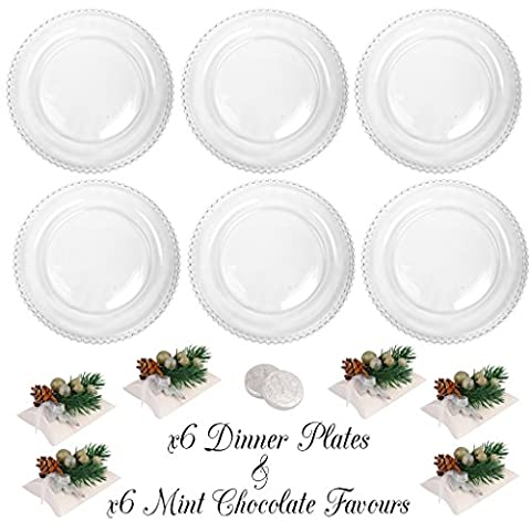 Bella Perle Dinner Party for Six - Six Dinner Plate Set - Gift Set with Six Boxes of Luxury Mint Chocolate Medallions - High Quality Luxury Glassware with Beaded Edge - As Used By Nigella Lawson - Perfect for Christmas/Boxing Day/New Years Dinner Party Setting for Six -