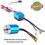Crazepony-UK 2838 4500KV Sensorless Brushless Combo Outrunner Motor Set and 35A Electronic Speed Controller ESC Splashproof for 1:12 1:14 RC Racing Car Off-Road Truck Vehicle