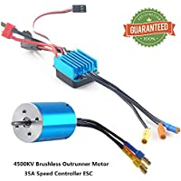 Crazepony-UK 2838 4500KV Sensorless Brushless Combo Outrunner Motor and 35A Electronic Speed Controller ESC Splashproof for 1:12 1:14 RC Racing Car Off-Road Truck Vehicle