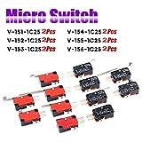 TLYCRQJXF 12 pezzi Micro Interruttore Finecorsa,leva lunga,SPDT,mini,pulsant, momentaneo,Micro Interruttore A Levetta, (V-151-1C25 a V-156-1C25 )