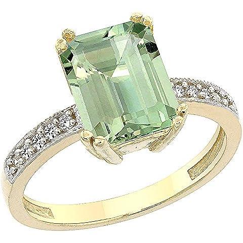In oro giallo 14 k con ametista verde ottagonale anello, 10 x 8 mm, dettagli in brillantini, misure disponibili da J a T
