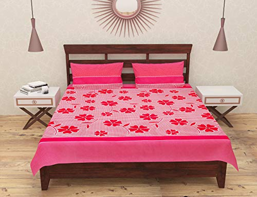 Lomak Double Bedsheet with 2 Pillow Covers - Super King Size Bedsheet, Poly Cotton