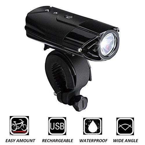 LED Fahrradbeleuchtung, DEEPOW Wasserdichte USB Fahrradlicht /Fahrradlampe, LED Fahrrad Frontlicht Set mit 2000MAh Wiederaufladbarem Akku, meistens 50 Meter Beleuchtung, geeignet an Fahrrad und Helm (Led-fahrrad-beleuchtung)