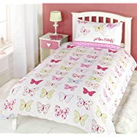 Childrens Girls Butterfly Fly Up High Duvet Cover Quilt Bedding Set, Single (Pink, Blue, Yellow, White)