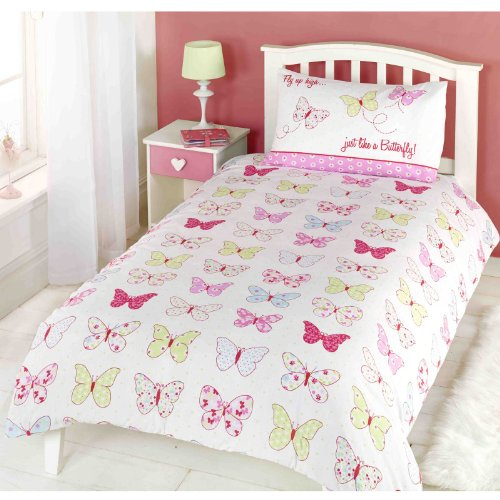 Beam Feature Niños niñas mariposa volar hasta funda nórdica Edredón Juego de cama, juego de cama (rosa, azul, amarillo, color blanco)