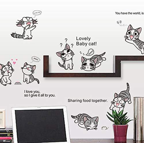Syssyjneue Käse Katze Wandaufkleber Pvc Cute Kitty Spielen Living Kinder Zimmer Hintergrund Aufkleber An Der Wand Diy Home Decor Abziehbild
