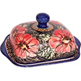 Boleslawiec Stoneware - Polish Pottery Butter Dish - Eva's Collection Red Garden by Eva's Collection