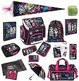 Familando Monster High Schulranzen Set 18tlg. Schultüte 85cm Sporttasche Scooli Campus Plus MHCP8251