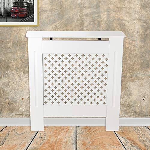 Tanburo Cubierta de Radiador, Cubre de Calentador Emisores Térmicos de Pared, Mate Pintado Estilo Rejilla, Fabricado por E1 MDF, Tamaño Pequeño (78 x 19 x 81.5 cm), Blanco