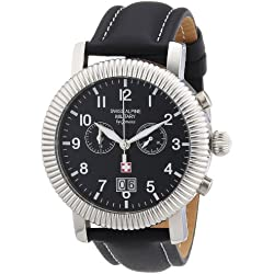Swiss Alpine Military AV288 - Reloj cronógrafo de caballero de cuarzo con correa de piel negra (cronómetro) - sumergible a 30 metros