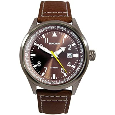 SEKONDA Men's Quartz Watch with Analogue Display andLeather Strap