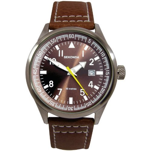 sekonda-gents-brown-dial-date-strap-wr-watch-3882