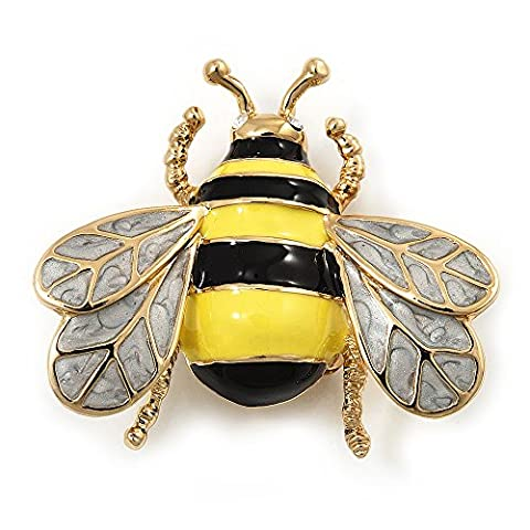 Yellow/Black Enamel Bee Brooch In Gold Plated