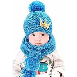 Gorros Bebé,Xinan Niño Niña Invierno Sombrero Bufanda Lindo Lana Punto (Azul)