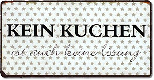La Finesse Schild Magnet - Kein Kuchen ist Auch Keine Lösung ! - Blechschild 10 cm Vintage Kühlschrankmagnet