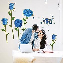 Tienda etiqueta engomada de la pared del PVC papel pasta BLUELOVER rosas dormitorio pared pegatinas matrimonio habitación diseño pegatinas