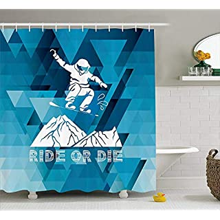 JIEKEIO Adventure Shower Curtain, Ride Or Die Sketch Letters Abstract Fractal Backdrop with Snowboarding Man, Fabric Bathroom Decor Set with Hooks, 60W X 72L Inches, Purple Blue White