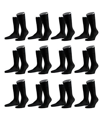 FALKE Herren Airport Socken Strümpfe 14435 12 Paar, Farbe:Schwarz;Sockengröße:43-44;Artikel:14435-3000 black