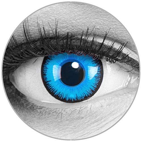 Funnylens Farbige blaue Kontaktlinsen Alper mit Stärke - weich ohne Stärke 2er Pack + gratis Behälter - 12 Monatslinsen - perfekt zu Halloween Karneval Fasching oder Fasnacht -4.5